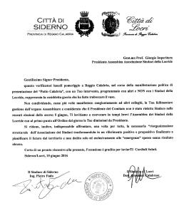 lettera Siderno Locri